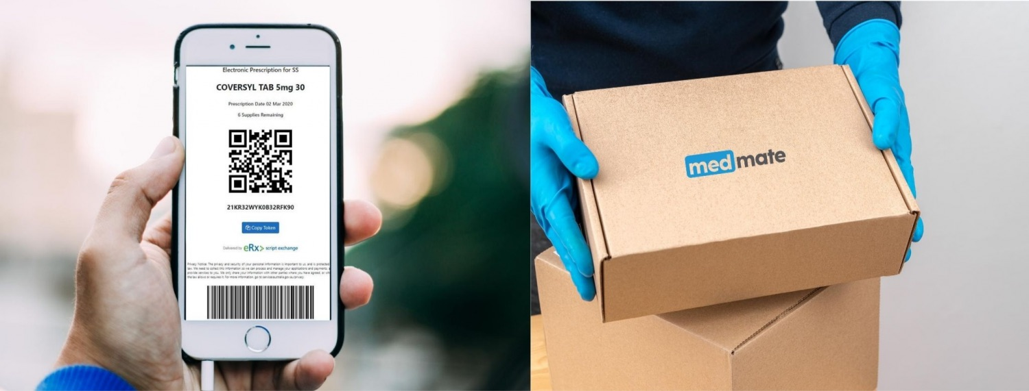 images of Medmate app in use on phone and medications being delivered in plain packaging by gloved hands