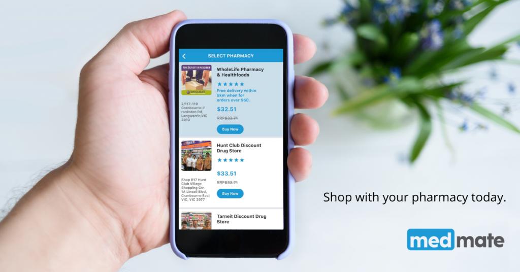 Choose a pharmacy on the medmate app